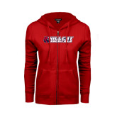 ENZA Ladies Red Fleece Full Zip Hoodie-Track & Field