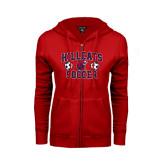 ENZA Ladies Red Fleece Full Zip Hoodie-Hillcats Soccer Stacked