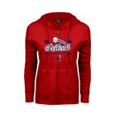 ENZA Ladies Red Fleece Full Zip Hoodie-Softball Crossed Bats
