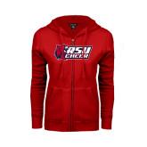 ENZA Ladies Red Fleece Full Zip Hoodie-Cheerleading