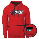 Contemporary Sofspun Red Hoodie-Stacked Combination Logo
