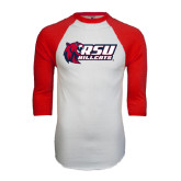 White/Red Raglan Baseball T-Shirt-Stacked Combination Logo