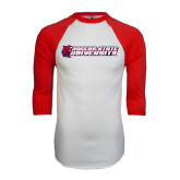 White/Red Raglan Baseball T-Shirt-University Logo