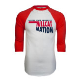 White/Red Raglan Baseball T-Shirt-Hillcat Nation