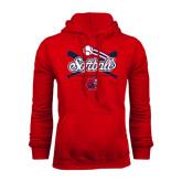 Red Fleece Hoodie-Softball Crossed Bats