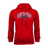 Red Fleece Hoodie-Baseball Crossed Bats