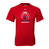 Under Armour Red Tech Tee-Hillcats Basketball Stacked w/Ball