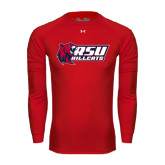 Under Armour Red Long Sleeve Tech Tee-Stacked Combination Logo