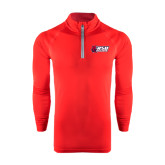 Under Armour Red Tech 1/4 Zip Performance Shirt-Stacked Combination Logo