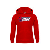 Youth Red Fleece Hoodie-Stacked Combination Logo