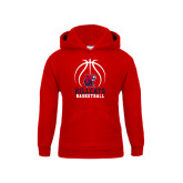 Youth Red Fleece Hoodie-Hillcats Basketball Stacked w/Ball