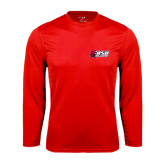 Syntrel Performance Red Longsleeve Shirt-Stacked Combination Logo
