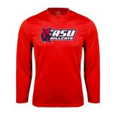 Performance Red Longsleeve Shirt-Stacked Combination Logo