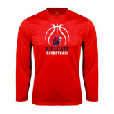 Performance Red Longsleeve Shirt-Hillcats Basketball Stacked w/Ball