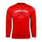 Performance Red Longsleeve Shirt-Golf Crossed Clubs