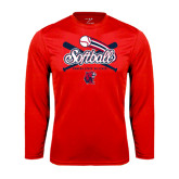 Performance Red Longsleeve Shirt-Softball Crossed Bats