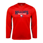 Performance Red Longsleeve Shirt-Hillcats Track & Field Stacked