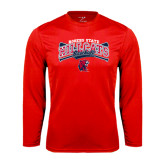 Performance Red Longsleeve Shirt-Baseball Crossed Bats