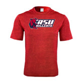 Performance Red Heather Contender Tee-Stacked Combination Logo