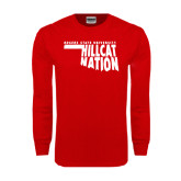Red Long Sleeve T Shirt-Hillcat Nation