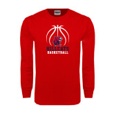 Red Long Sleeve T Shirt-Hillcats Basketball Stacked w/Ball