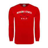 Red Long Sleeve T Shirt-Golf Crossed Clubs