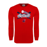 Red Long Sleeve T Shirt-Softball Crossed Bats