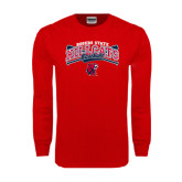 Red Long Sleeve T Shirt-Baseball Crossed Bats