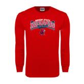 Red Long Sleeve T Shirt-Baseball Crossed Bats