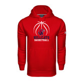Under Armour Red Performance Sweats Team Hoodie-Hillcats Basketball Stacked w/Ball
