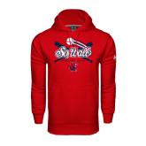 Under Armour Red Performance Sweats Team Hoodie-Softball Crossed Bats