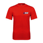Performance Red Tee-Stacked Combination Logo