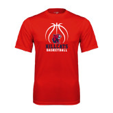 Performance Red Tee-Hillcats Basketball Stacked w/Ball