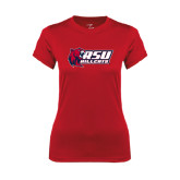 Ladies Syntrel Performance Red Tee-Stacked Combination Logo