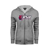 ENZA Ladies Grey Fleece Full Zip Hoodie-Stacked Combination Logo