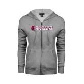 ENZA Ladies Grey Fleece Full Zip Hoodie-University Logo