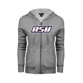 ENZA Ladies Grey Fleece Full Zip Hoodie-RSU