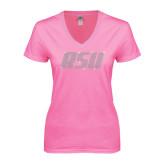 Next Level Ladies Junior Fit Ideal V Pink Tee-RSU Rhinestones