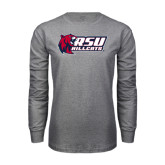 Grey Long Sleeve T Shirt-Stacked Combination Logo