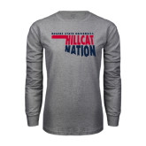 Grey Long Sleeve T Shirt-Hillcat Nation