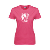 Ladies Fuchsia T Shirt-Official Logo