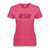 Ladies Fuchsia T Shirt-RSU Rhinestones