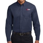 Navy Twill Button Down Long Sleeve-Stacked Combination Logo