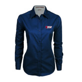 Ladies Navy Twill Button Down Long Sleeve-Stacked Combination Logo
