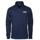 Navy Slub Fleece 1/4 Zip Pullover-Stacked Combination Logo
