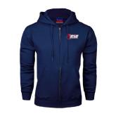 Navy Fleece Full Zip Hoodie-Stacked Combination Logo