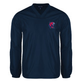 V Neck Navy Raglan Windshirt-Official Logo