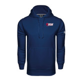Under Armour Navy Performance Sweats Team Hoodie-Stacked Combination Logo