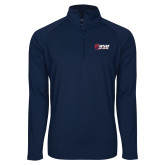 Sport Wick Stretch Navy 1/2 Zip Pullover-Stacked Combination Logo
