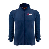 Fleece Full Zip Navy Jacket-Stacked Combination Logo